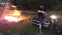 How to start a camp fire with a Harley Davidson
