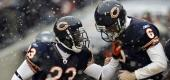 Devin Hester, left, and Jay Cutler celebrate during a game. (AP)
