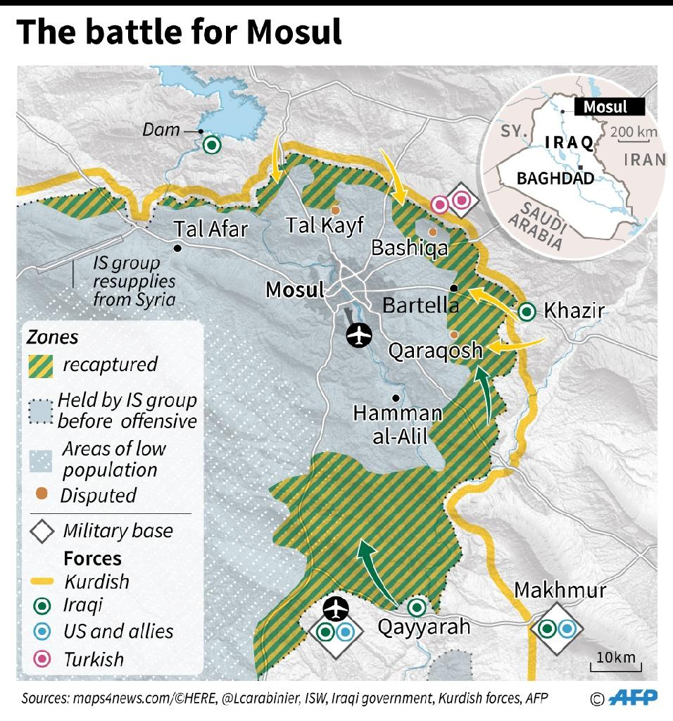 Tens of thousands of Iraqi fighters have been advancing on Mosul from the south, east and north after an offensive was launched on October 17 to retake the last major Iraqi city under control of the Islamic State group (AFP Photo/Iris ROYER DE VERICOURT, Paz PIZARRO, Thomas SAINT-CRICQ)