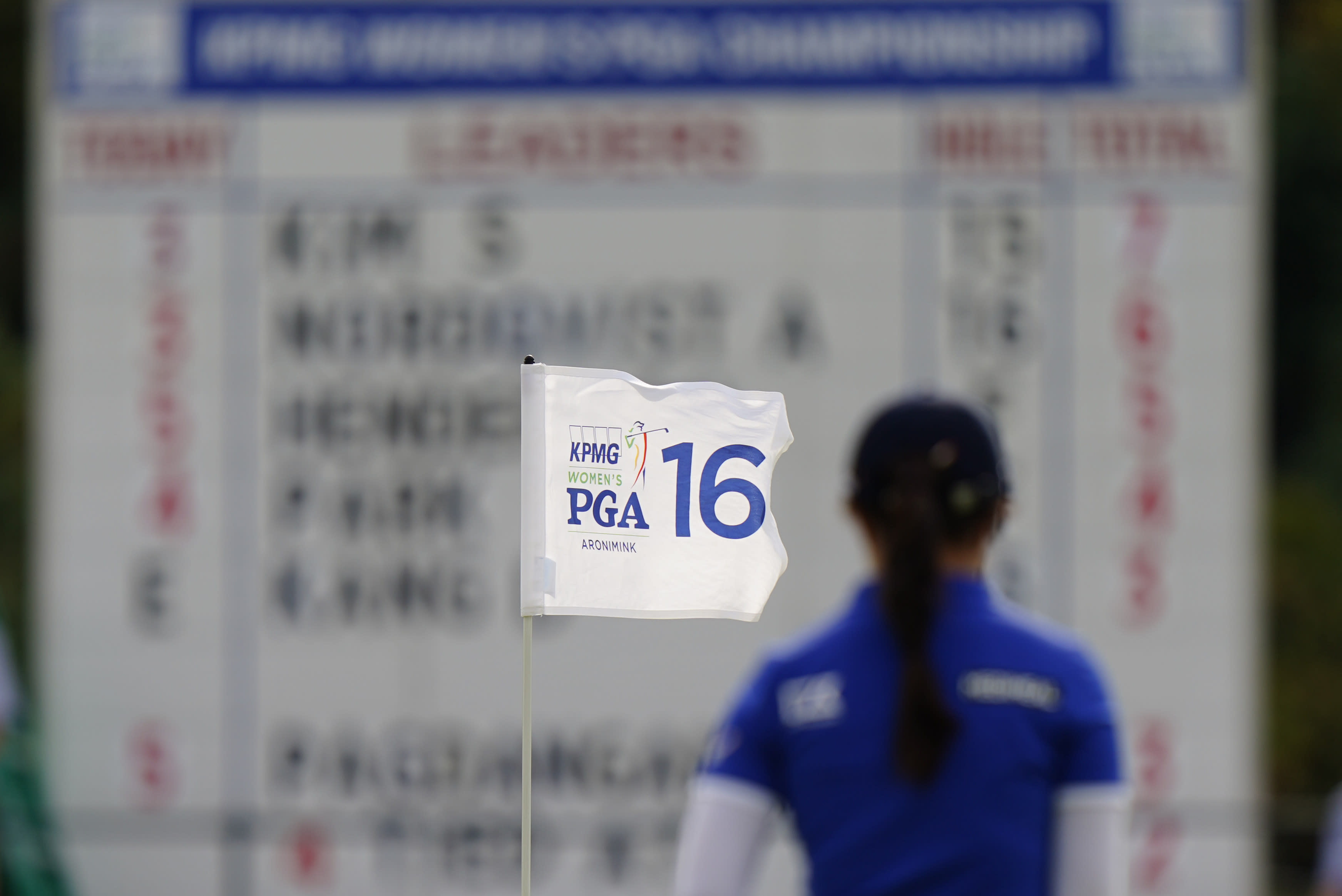 Sei Young Kim, of South Korea, walks off the 16th green during the third round at the KPMG Women's PGA Championship golf tournament at the Aronimink Golf Club, Saturday, Oct. 10, 2020, in Newtown Square, Pa. (AP Photo/Matt Slocum)