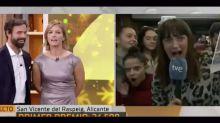 Una reportera de TVE engaña a la audiencia al hacer creer en directo que le había tocado el Gordo