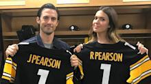 'This Is Us' stars Mandy Moore, Milo Ventimiglia get custom Steelers jerseys