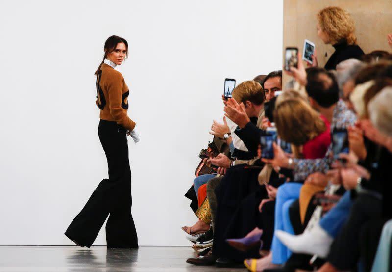 Designer Victoria Beckham after her catwalk show during London Fashion Week Women's A/W19 in London