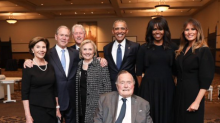 Melania Trump poses with former presidents and first ladies at Barbara Bush memorial