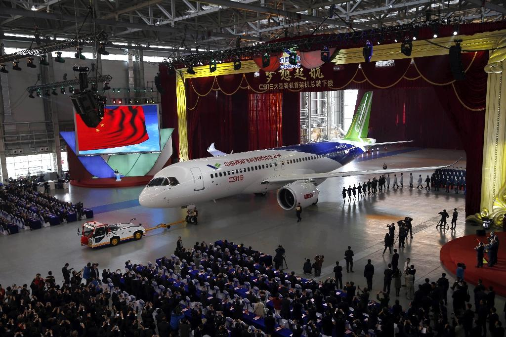 For China, its new passenger plane C919 represents at least seven years of efforts in a state-mandated drive to reduce dependence on European consortium Airbus and Boeing of the US (AFP Photo/-)