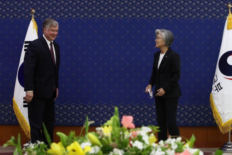 U.S. Deputy Secretary of State Stephen Biegun meets South Korea's Foreign Minister Kang Kyung-wha in Seoul