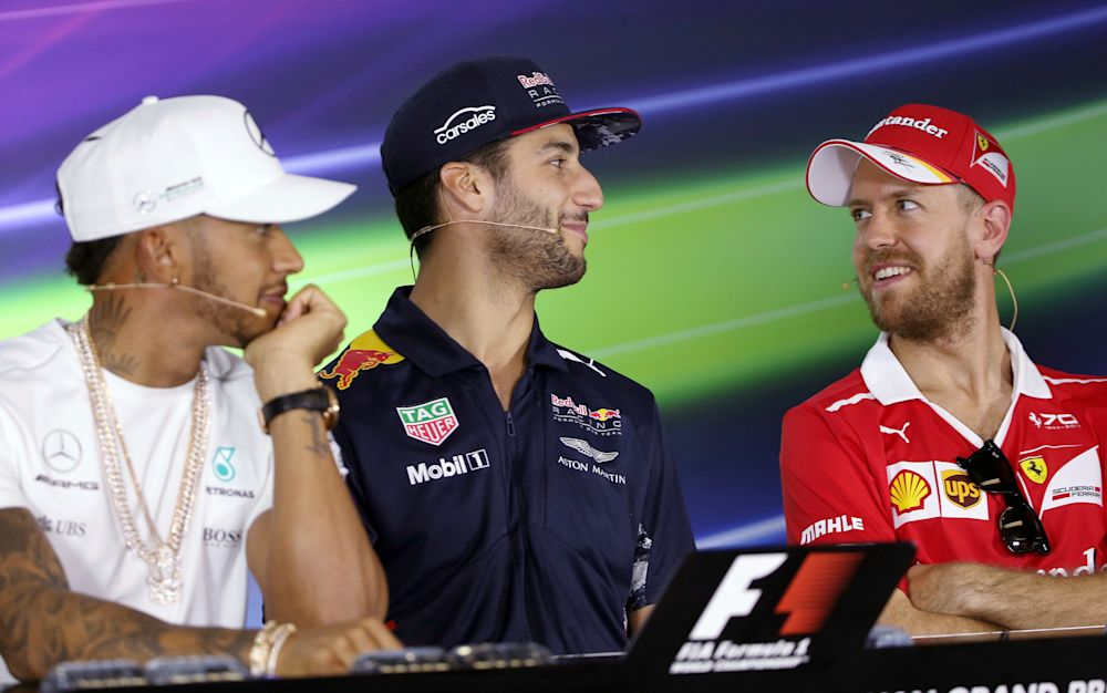 Hamilton, Ricciardo and Vettel will all be vying for first place on Sunday, but who makes your top three? - Copyright 2017 The Associated Press. All rights reserved.