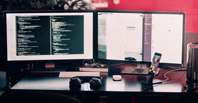 Stock image of two monitors.