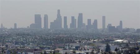 File photo of downtown Los Angeles skyline from Hollywood, California