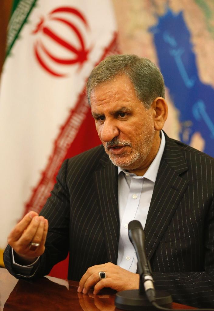 Iranian vice-president and presidential candidate Eshaq Jahangiri gives an interview to AFP in Tehran on May 9, 2017 (AFP Photo/ATTA KENARE)