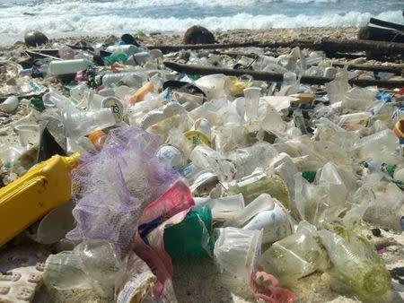 Debris and plastic litter found by Tangaroa Blue, an Australian Marine debris initiative, on Christmas Island, Australia in this undated handout. Tangaroa Blue/Handout via REUTERS