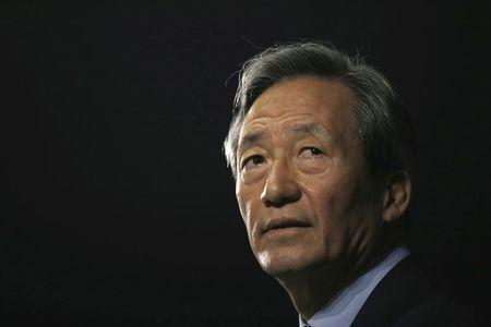 Chung Mong-joon speaks during a news conference in Seoul