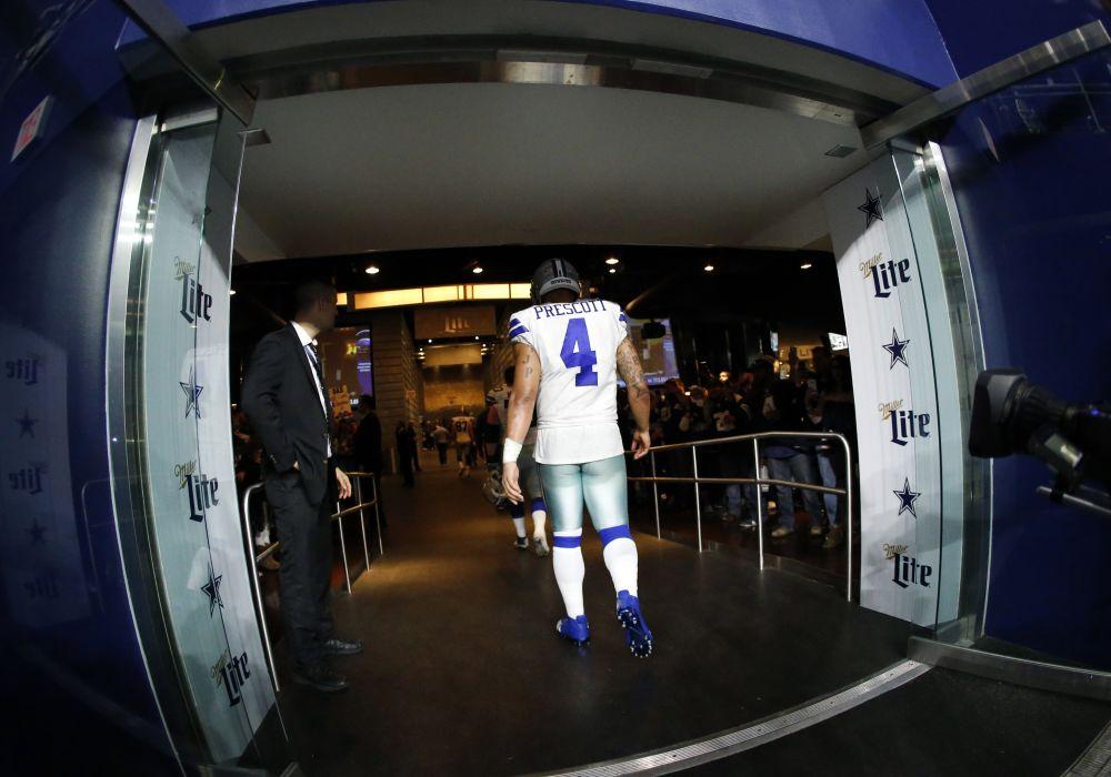 Dallas Cowboys' Dak Prescott threw a pair of interceptions in a loss to the Seahawks. (AP)