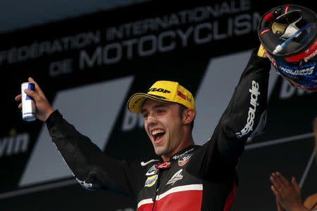 Kalex Moto2 rider Jonas Folger of Germany celebrates on the podium after winning the Spanish Grand Prix in Jerez de la Frontera