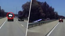 Shocking moment surfboards go flying off car roof racks on freeway