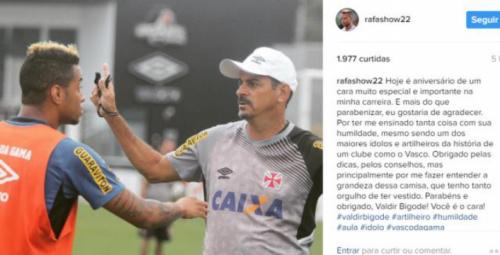 Rafael Silva parabeniza Valdir Bigode pelo aniversário: 'Cara muito especial'