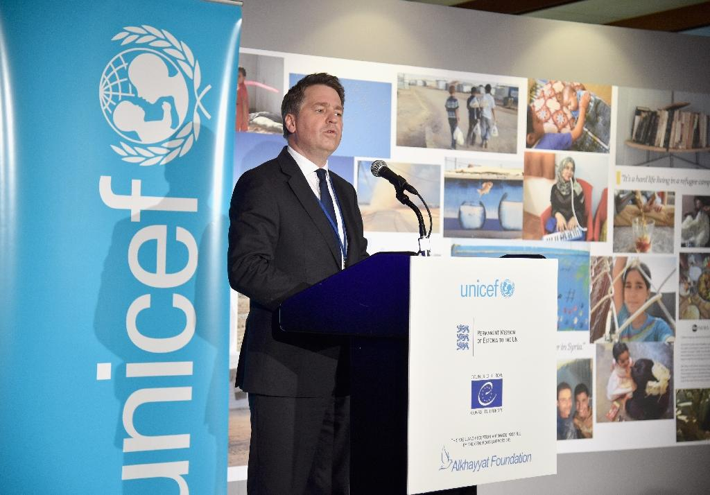 Justin Forsyth, seen here at a UNICEF event September 18, 2017, has resigned as deputy director of the UN children's fund