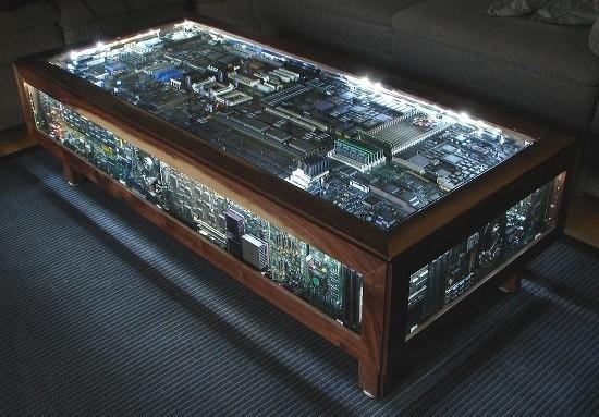Computer Board coffee table blends the past with the future with charm and dignified elegance