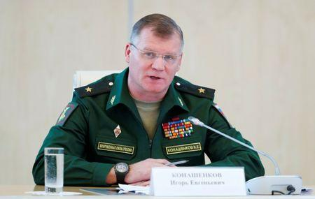 Spokesman for Russian Defence Ministry Konashenkov speaks during news conference dedicated to crash of Malaysia Airlines Boeing 777 plane operating flight MH17 in Moscow