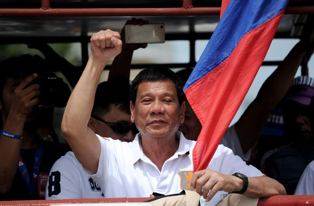 Presidential candidate Rodrigo Duterte is promising to clean up the Philippines with the same methods he employed in Davao (AFP Photo/Noel Celis)