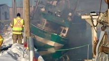 Toxic smoke, heavy flames swallow up fishing vessel in Grand Bank