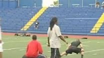 NFL Player Teaches Youth Football Camp