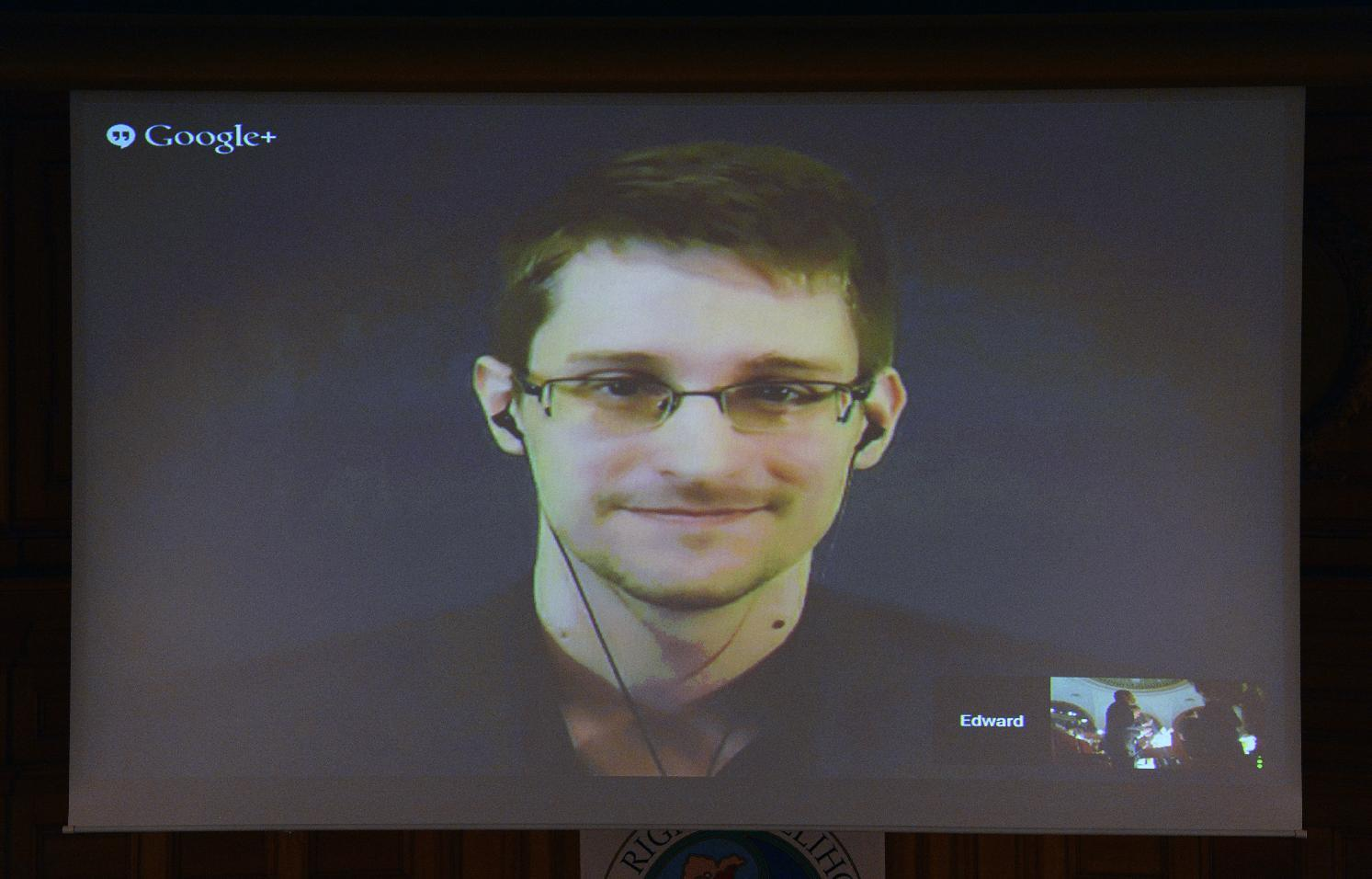 US National Security Agency (NSA) whistleblower Edward Snowden speaks via live video call at the parliament in Stockholm, Sweden, on December 1, 2014 (AFP Photo/Jonathan Nackstrand)