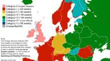 【從簡單到困難】一張地圖告訴你語言學習的難易程度!