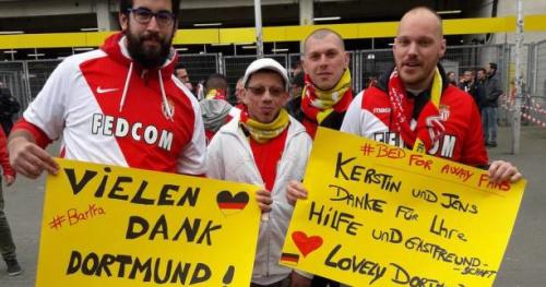 Foot - C1 - Ambiance contrastée avant Dortmund-Monaco, les fans monégasques donnent de la voix