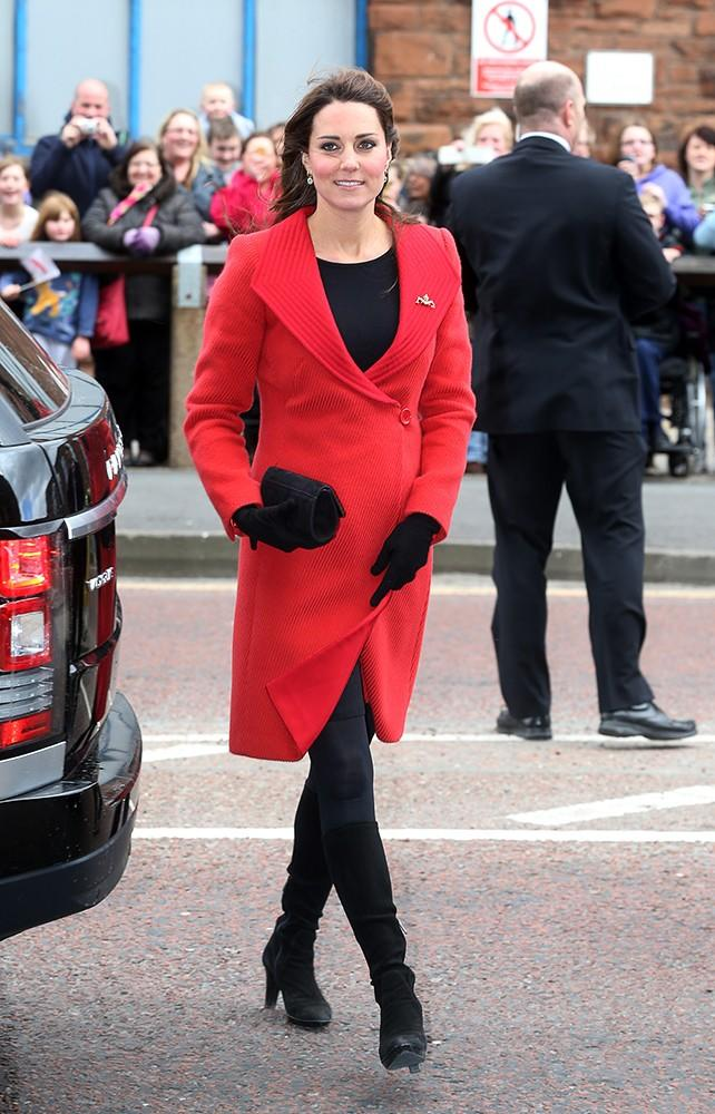 Kate donned her red Armani coat, as seen on her in 2006, for the visit to Scotland.