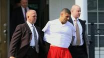 Raw: NFL's Hernandez Taken Away in Handcuffs