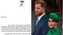 Revuelo en Reino Unido por esta carta de Meghan y Harry: todo por el símbolo de arriba