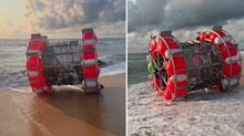 'What the heck is this?' Why a man in a 'bubble' washed up on a beach