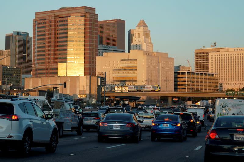 FILE PHOTO: Traffic travels along a highway next to Los Angeles, California
