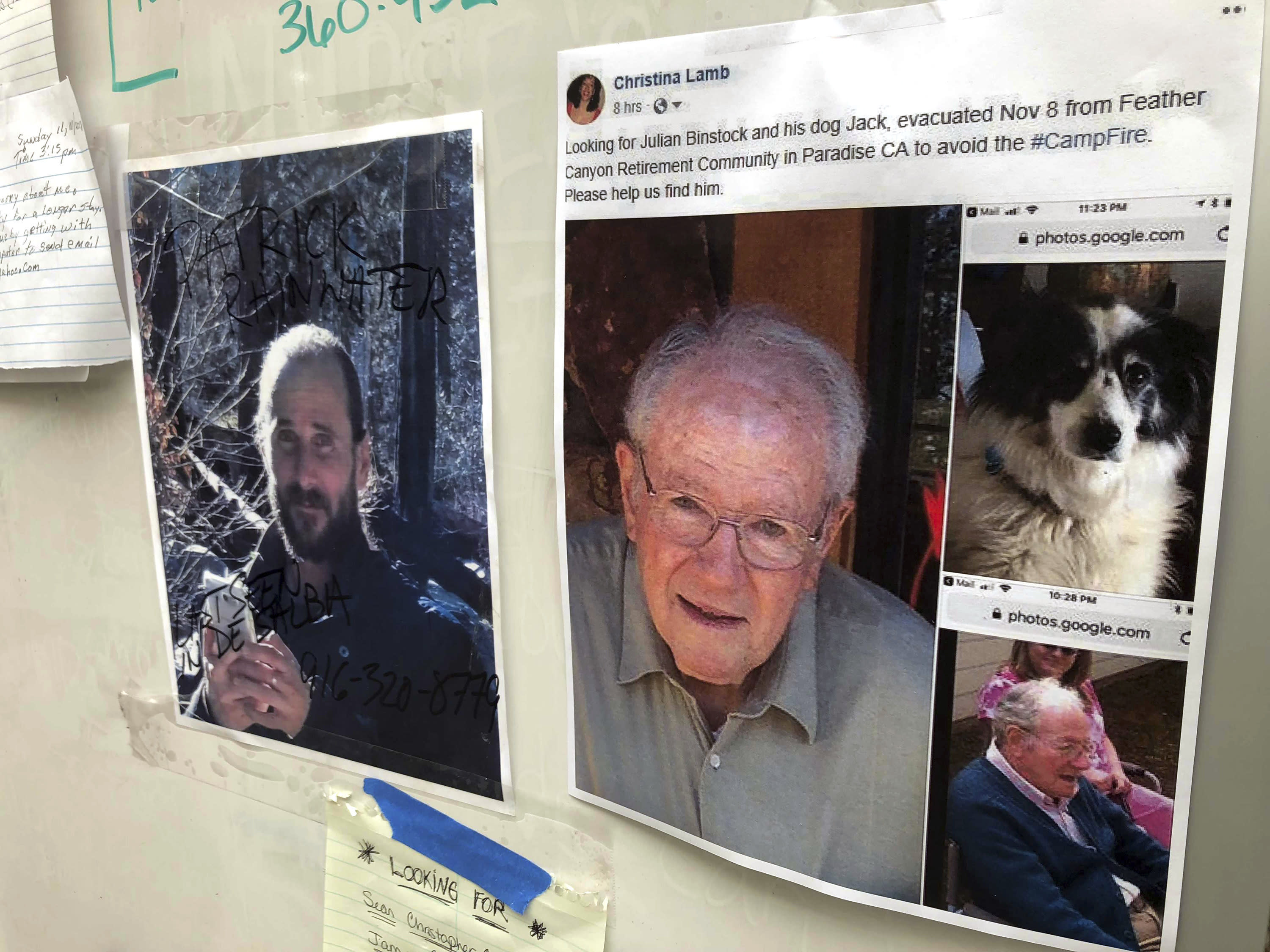 FILE - In this Nov. 13, 2018 file photo, messages are shown on a bulletin board at The Neighborhood Church in Chico, Calif., as evacuees, family and friends search for people missing from the northern California wildfire. Northern California officials have struggled to get a handle on the number of missing from the deadliest wildfire in at least a century in the United States. Authorities continue to log hundreds of reports by people who couldn't reach loved ones in the aftermath of the Camp Fire in Butte County. (AP Photo/Gillian Flaccus, File)
