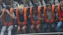 Mollie King and Vanessa White Scream Whilst Pregnant Frankie Sandford Holds the Bags at Alton Towers