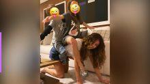 Paula Fernandes brinca com os enteados durante a quarentena