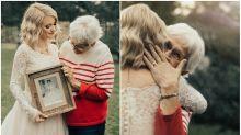 Bride surprises widowed grandma by wearing her wedding dress from 1962