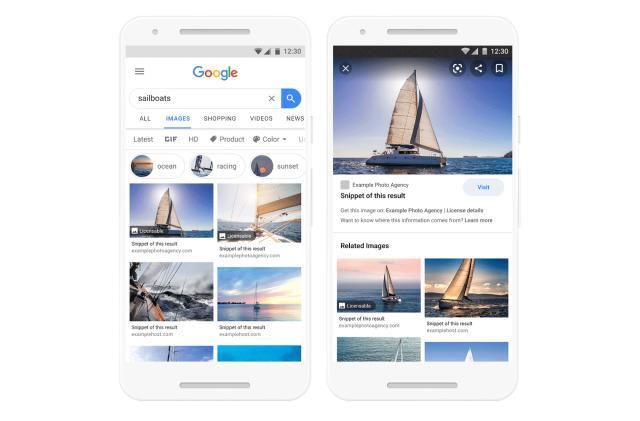 Google starts displaying licensing details for image results