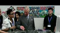 Prince Charles spins the vinyl