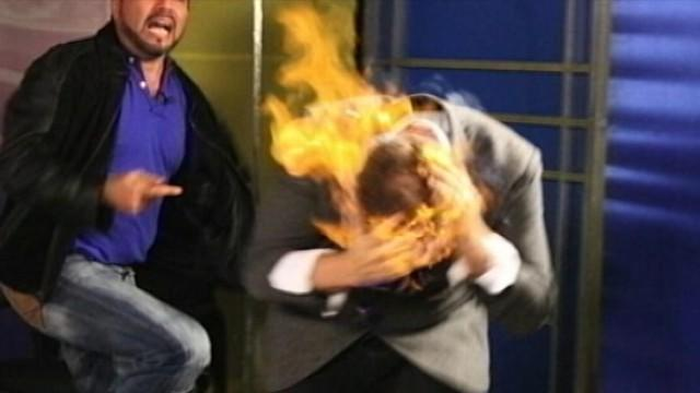 TV Prank Gone Wrong: Magician's Head Set on Fire