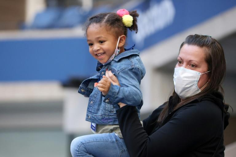 Serena Williams' daughter Olympia watched her mum in action at the US Open