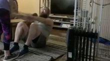 Parrot mocks owner during quarantine workout