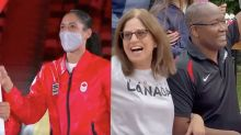 Canadian flag-bearer's parents delightfully cheer on daughter from across the world