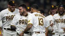 Padres win 'homer opener' behind Caratini, Hosmer's late homers