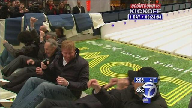 Famous faces try the festivities in Times Square