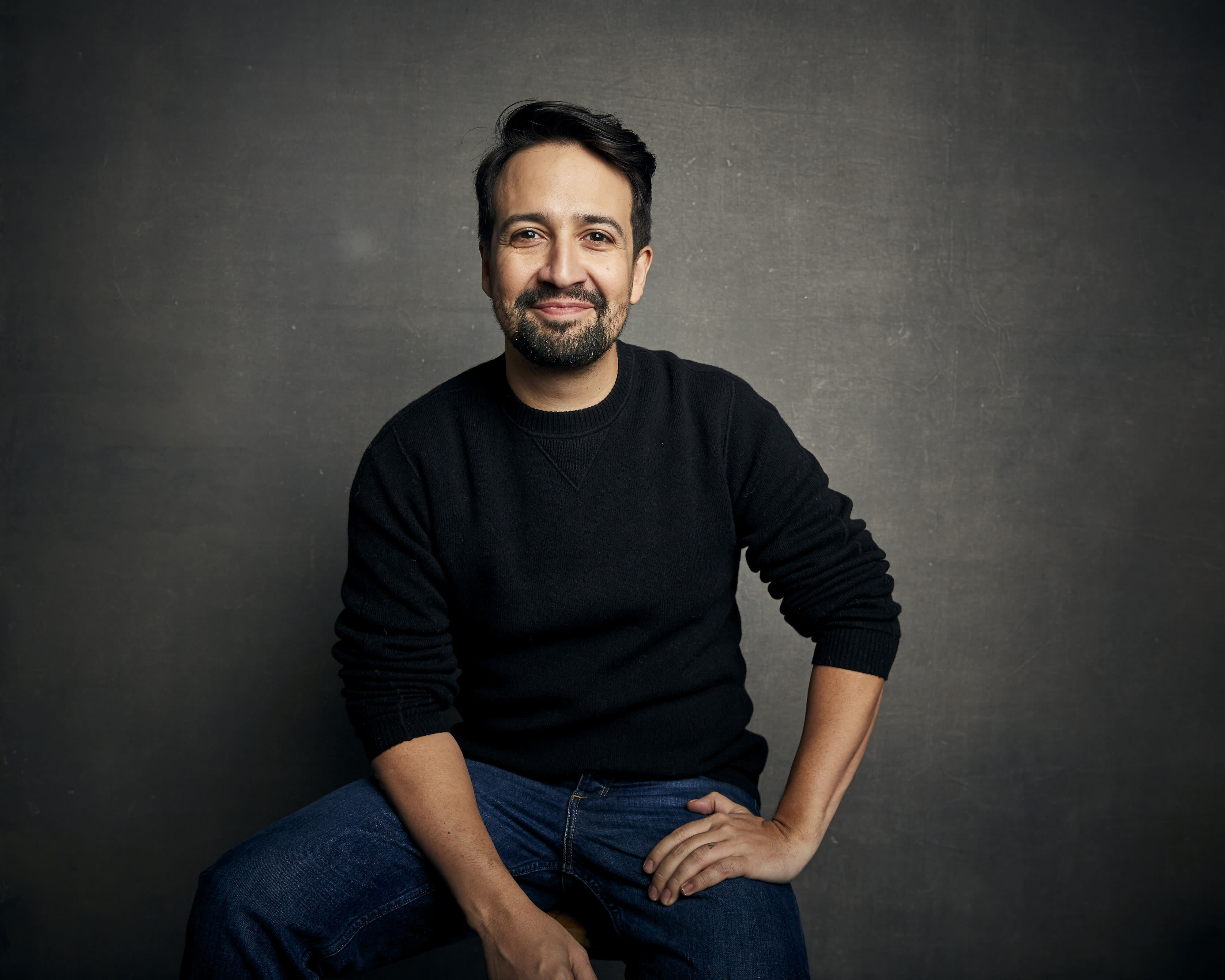 "FILE - Lin-Manuel Miranda poses for a portrait during the Sundance Film Festival in Park City, Utah on Jan. 25, 2020. The playwright, actor and songwriter shows his impressive hip-hop improv skills in ""We Are Freestyle Love Supreme,"" a documentary streaming on Hulu. (Photo by Taylor Jewell/Invision/AP, File)"