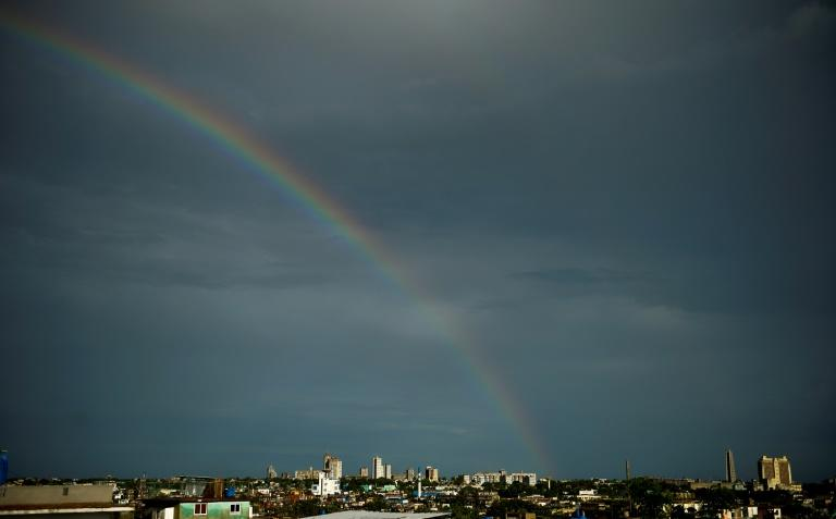 A rainbow appears over Havana after the passage of Tropical Storm Laura, on August 25, 2020