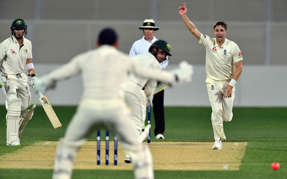 Woakes took 4-17, but captain Tim Paine is the only batsman of first-class note in the opposition - AFP