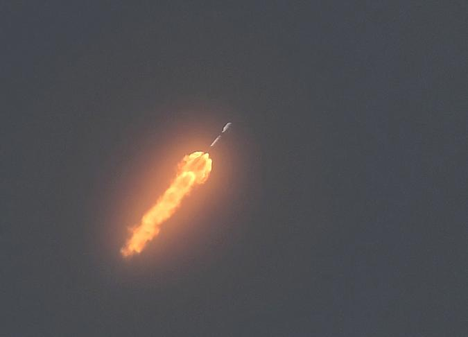 CAPE CANAVERAL, FLORIDA, UNITED STATES - 2020/08/30: A SpaceX Falcon 9 rocket carrying the SAOCOM 1B earth observation satellite for CONAE, Argentina's space agency, launched from pad 40 at Cape Canaveral Air Force Station. (Photo by Paul Hennessy/SOPA Images/LightRocket via Getty Images)